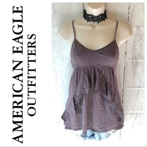 AEO Ruffle Front Lace Back Tank Top